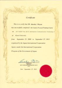 Certificate JICA